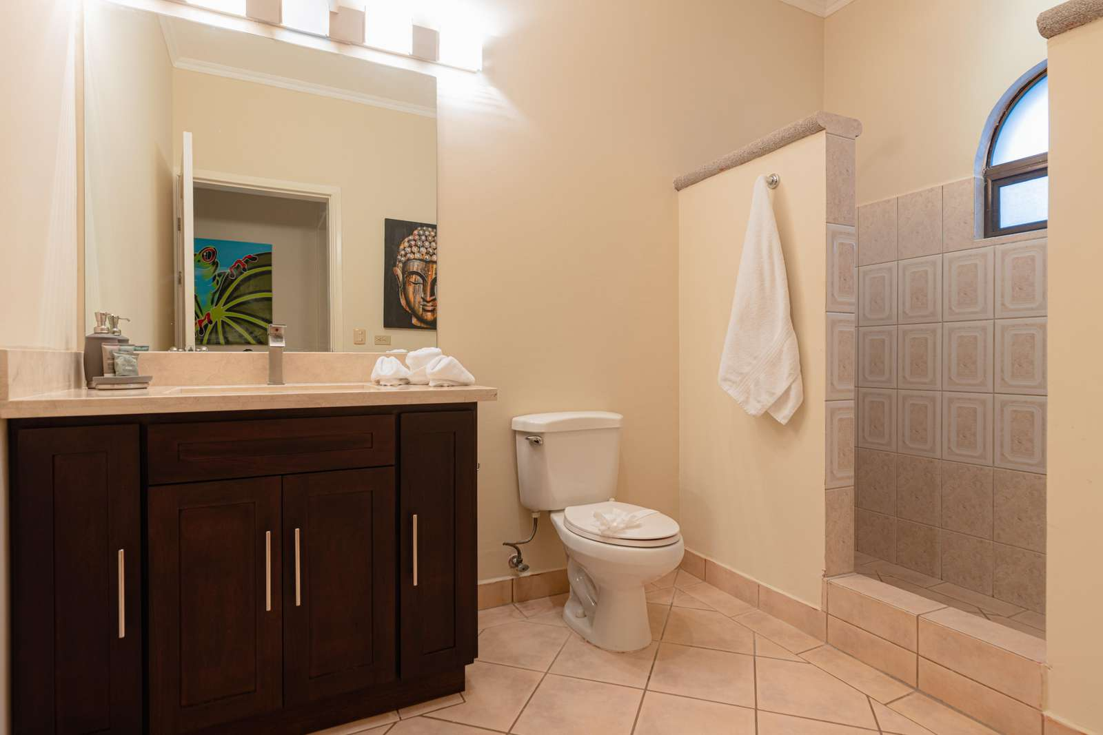 Master bathroom, walk in shower, granite countertops