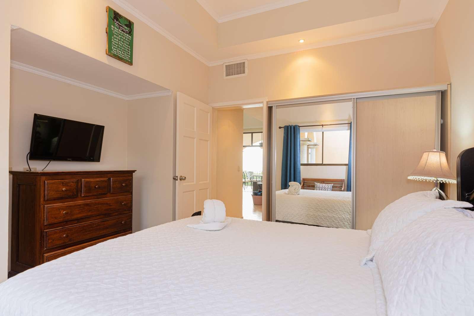 Another view of the guest bedroom, queen bed, Smart TV
