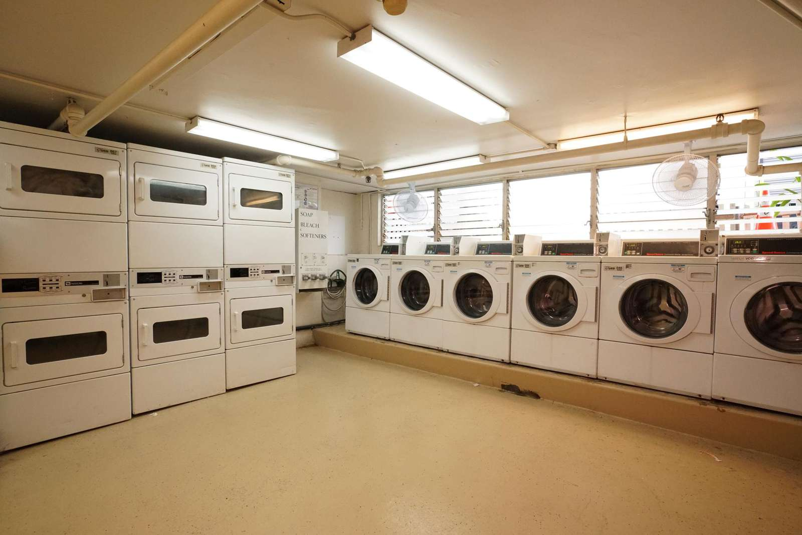 Ample coin-operated laundry machines just an elevator ride 4 floors down.