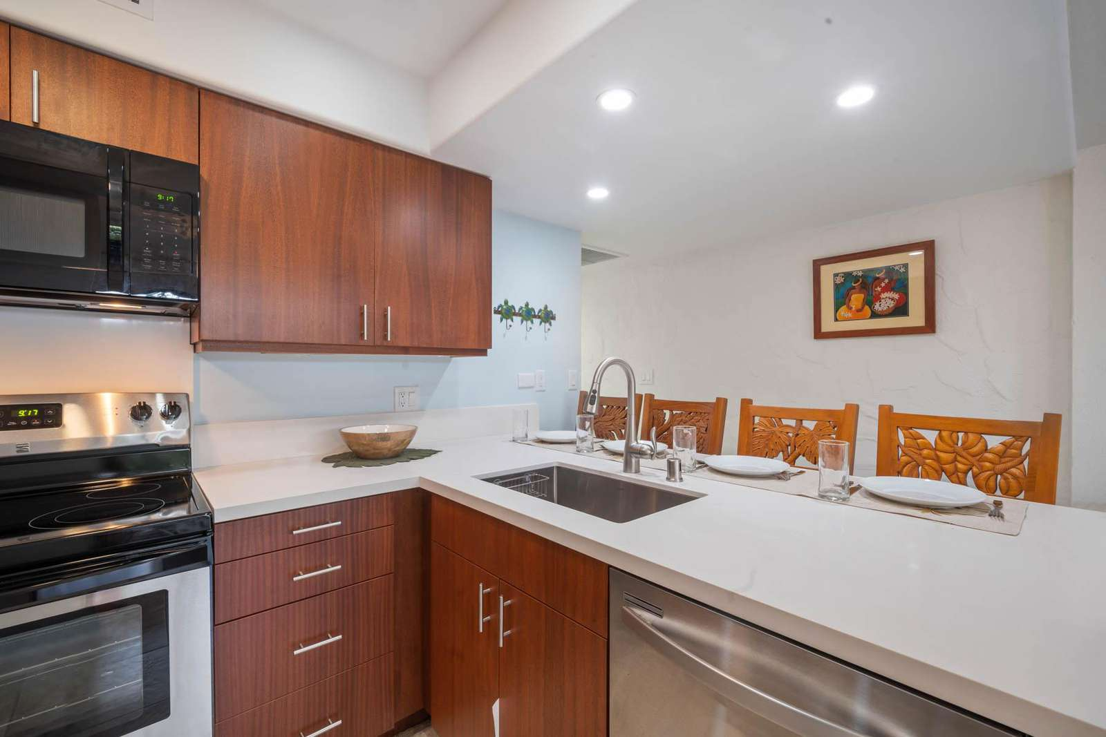 Kitchen with quality appliances.