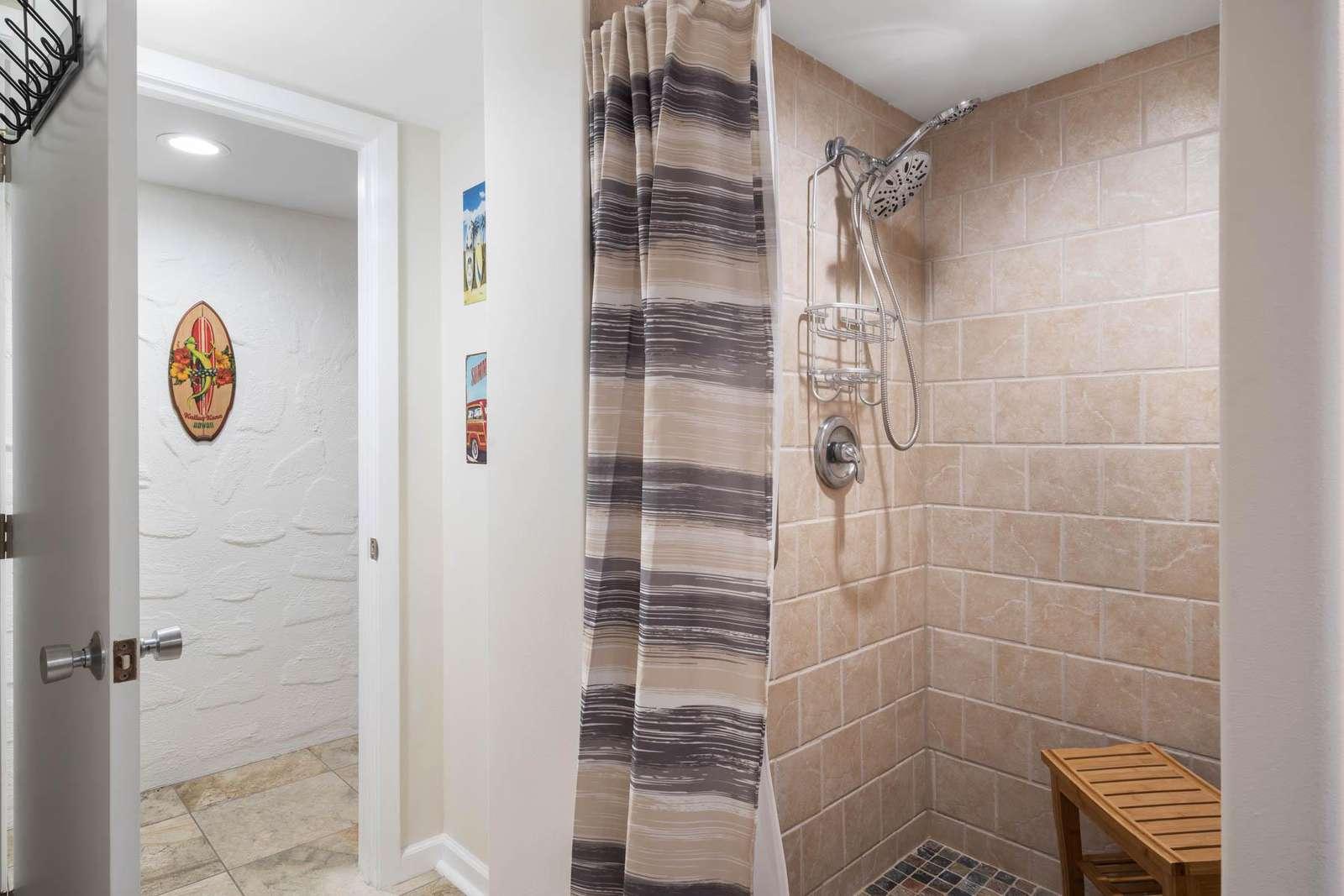 Nice shower in the bathroom