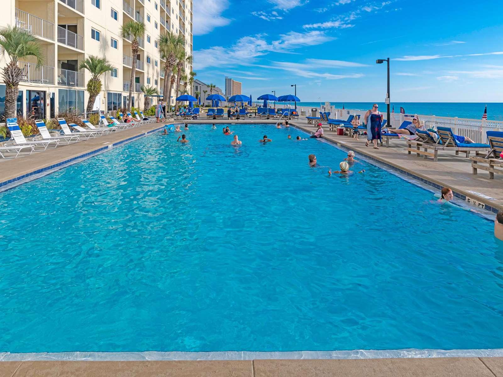 1 of 2 LARGE seasonally heated beachfront pools!