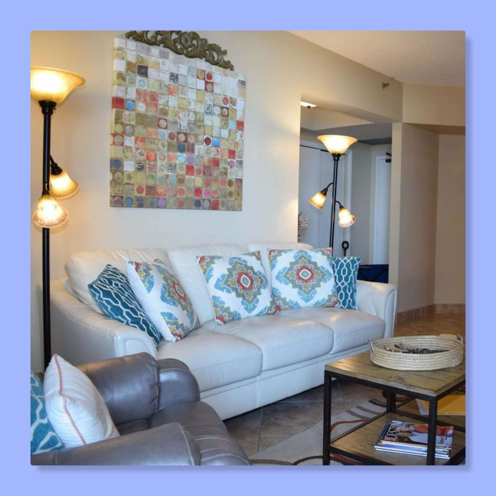 The living room is beautifully updated for your comfort.