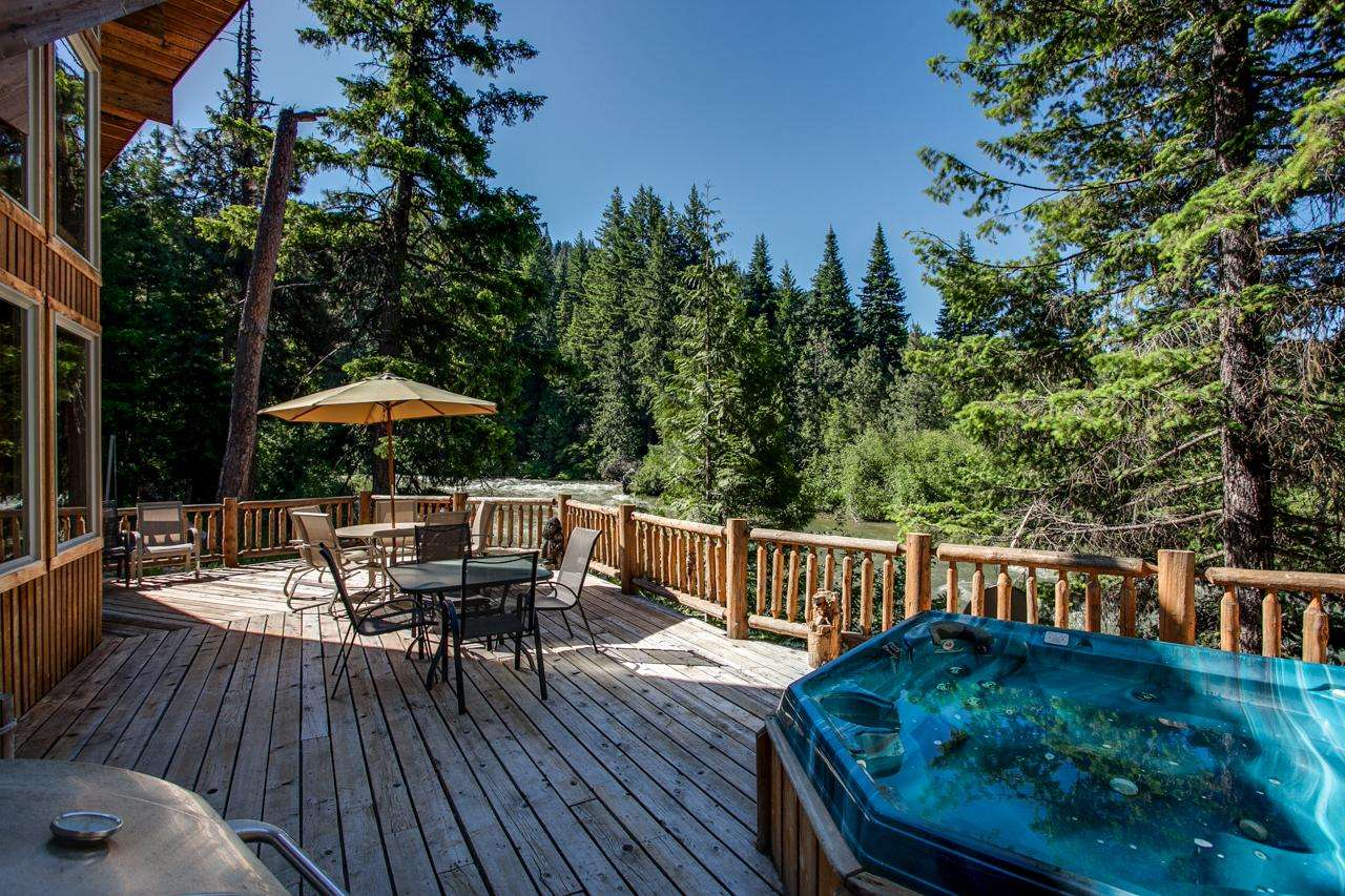 Deck with Hot Tub overlooking the river