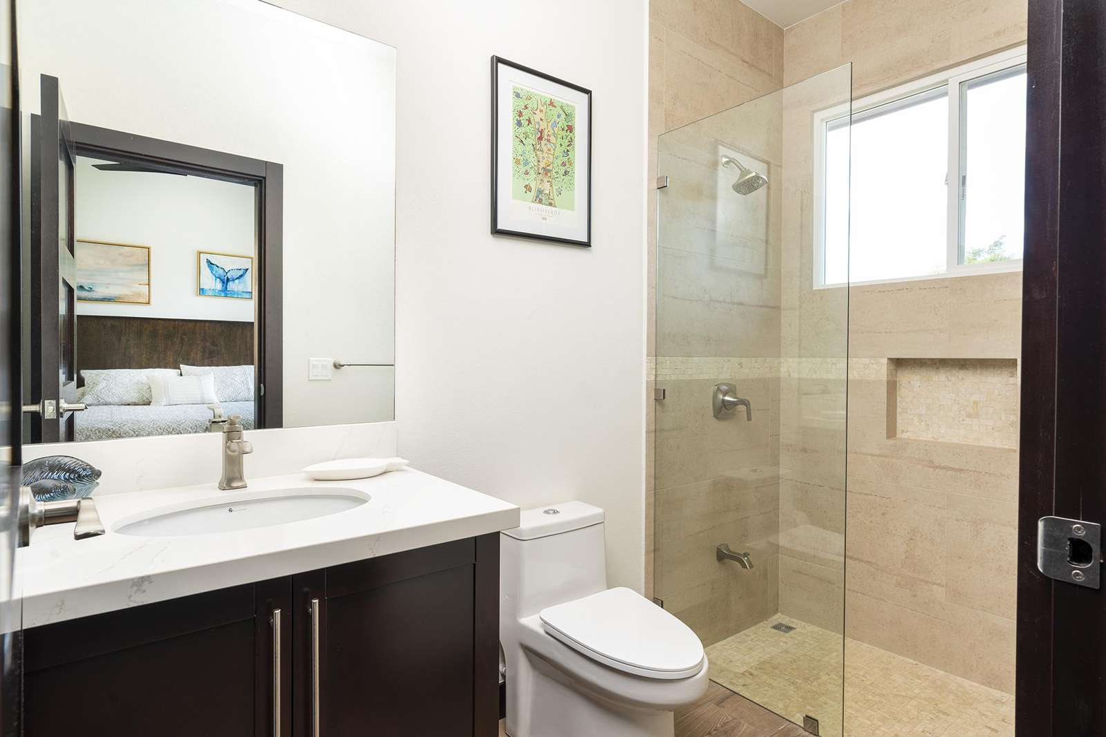 Private full guest bathroom with walk in shower