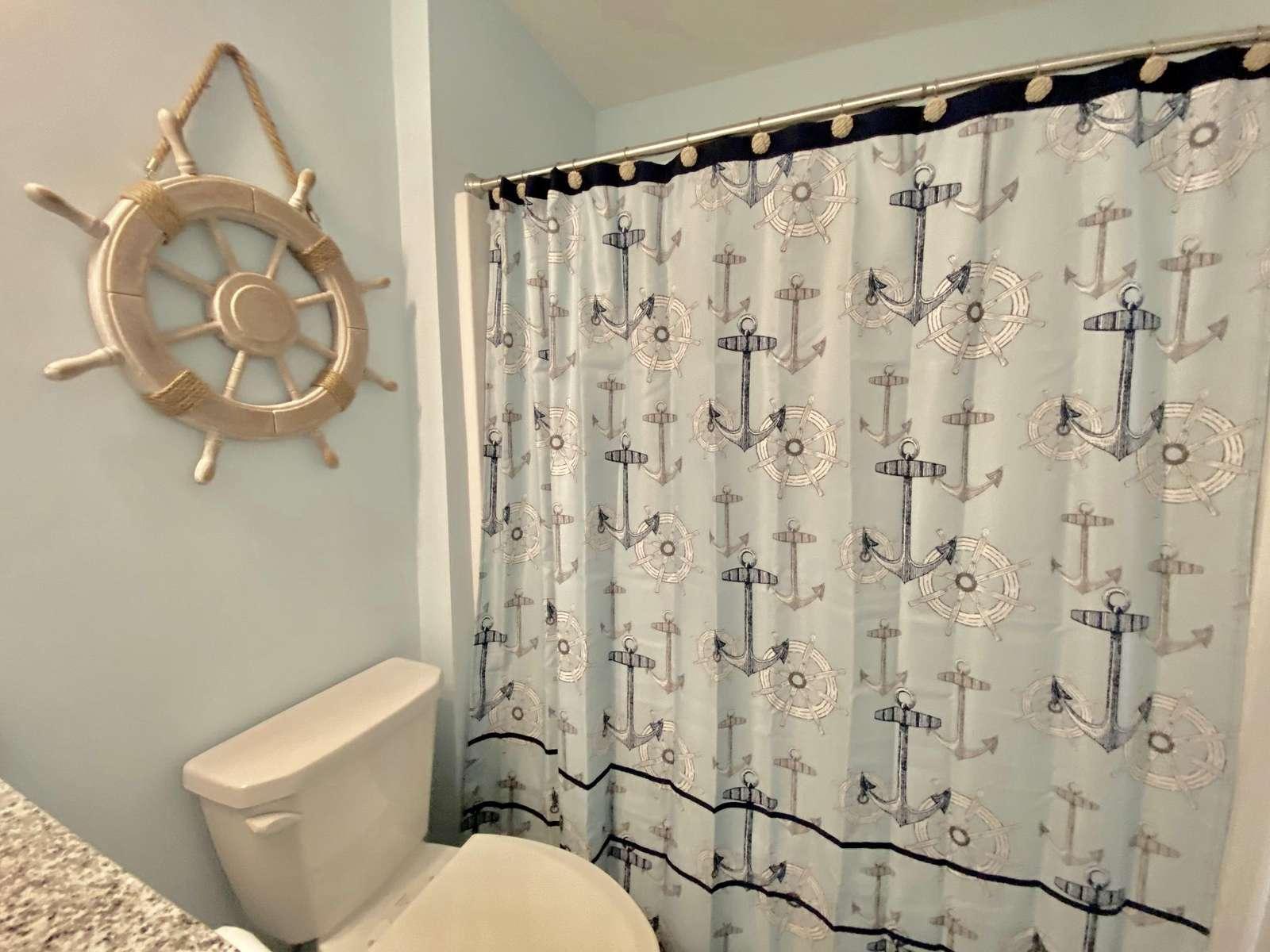 Guest bathroom, tub/shower combo