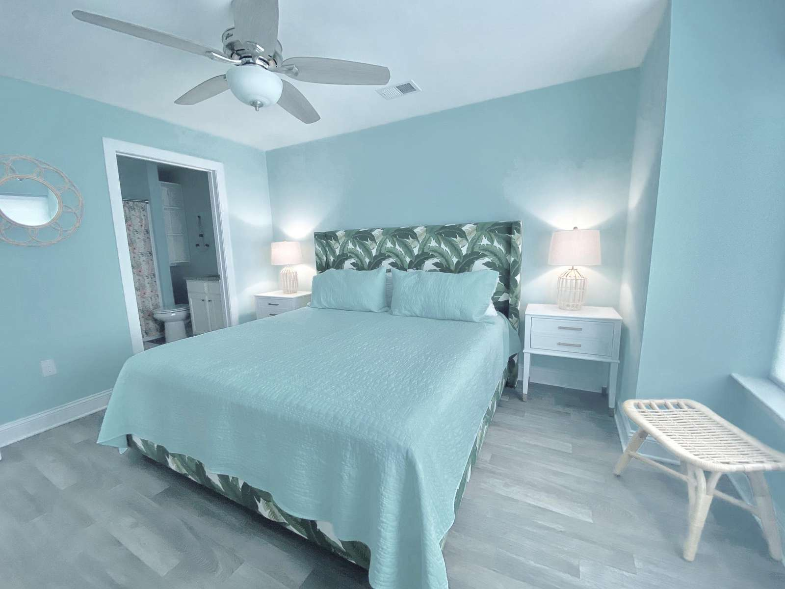 Master bedroom with private bath and tub/shower combo