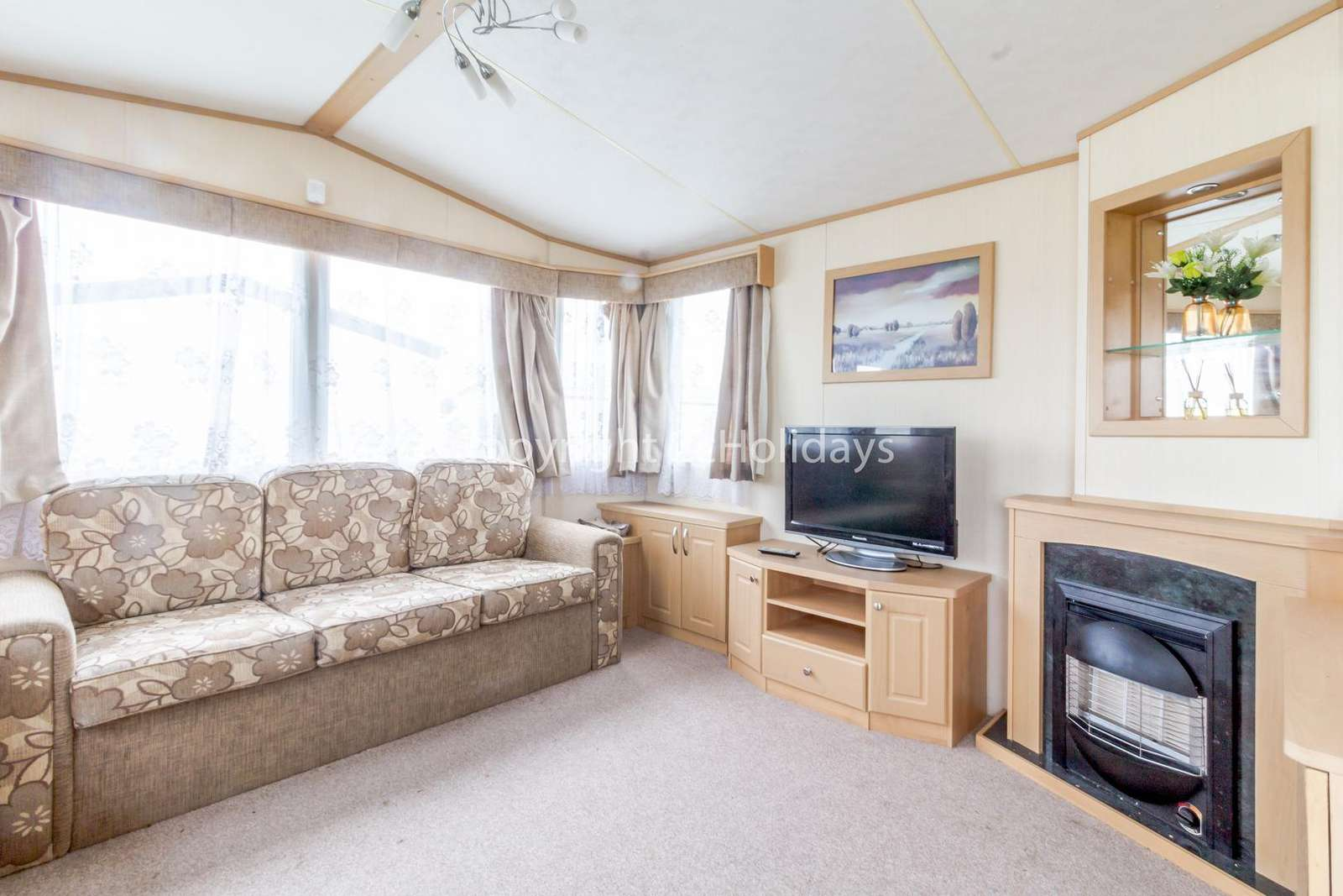 Cosy feel with a modern TV and a gas fire