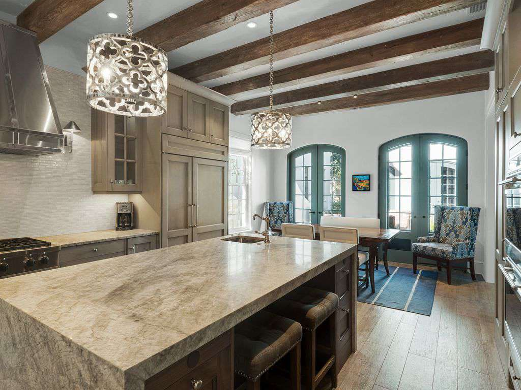 Kitchen flows to dining area