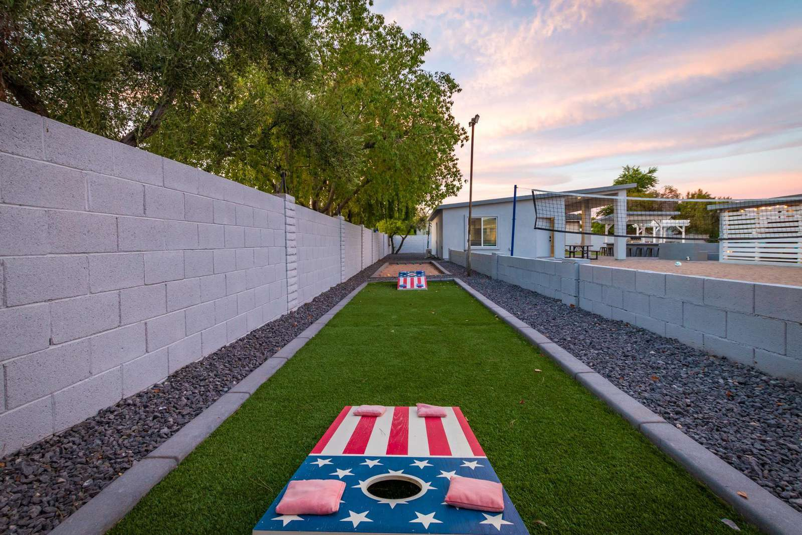 Bean Bag Toss And Bocce Court.