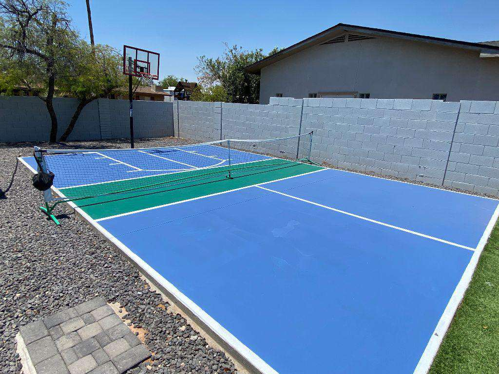 Brand new sports court for pickleball and basketball.