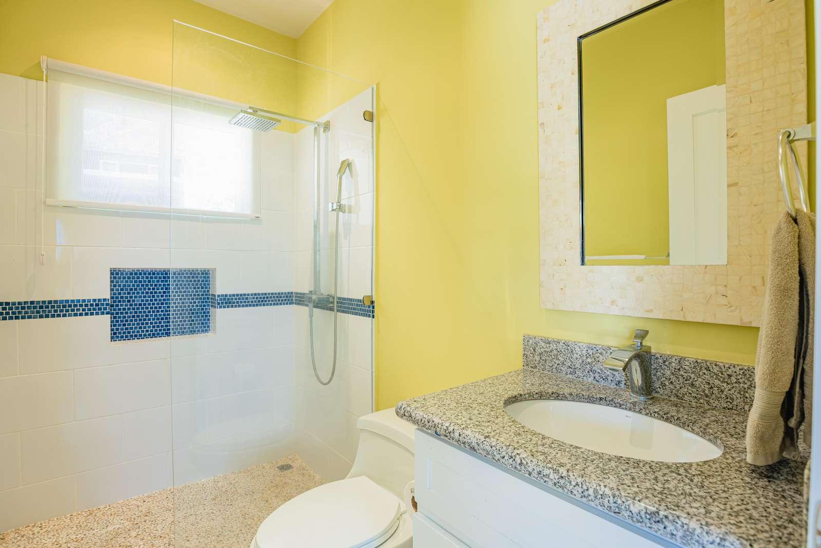 Full bathroom, walk in shower, inside guest casita