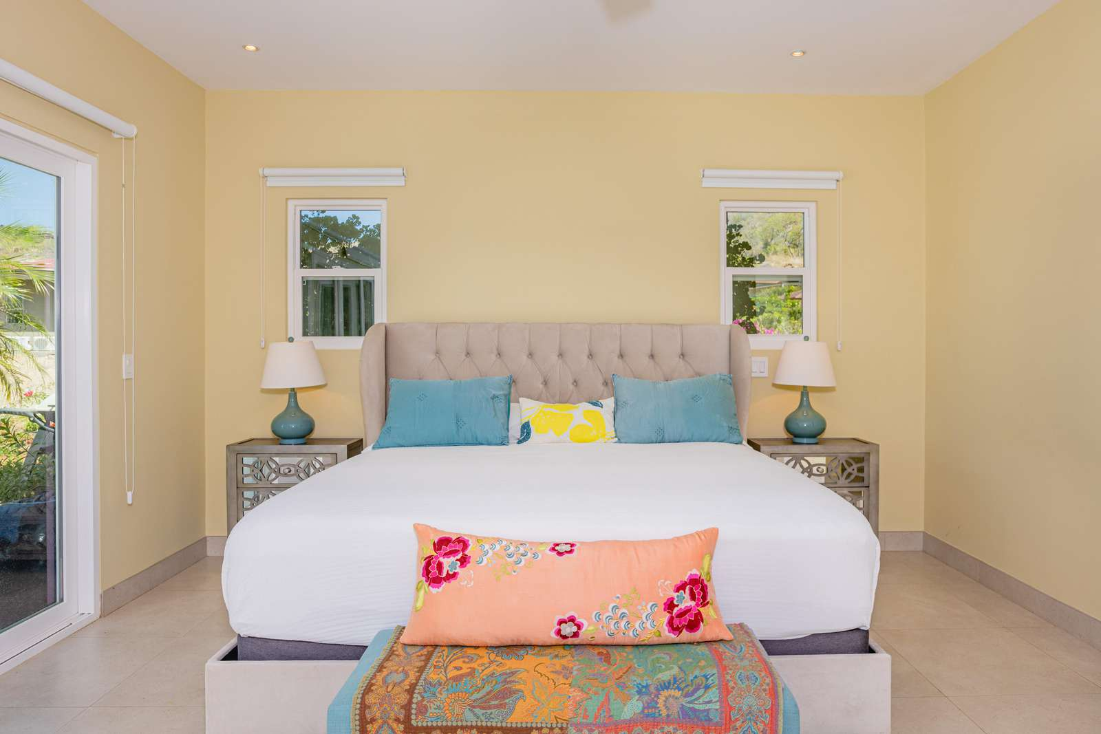 Master Bedroom, King bed, Full private bathroom, access to pool, terrace area