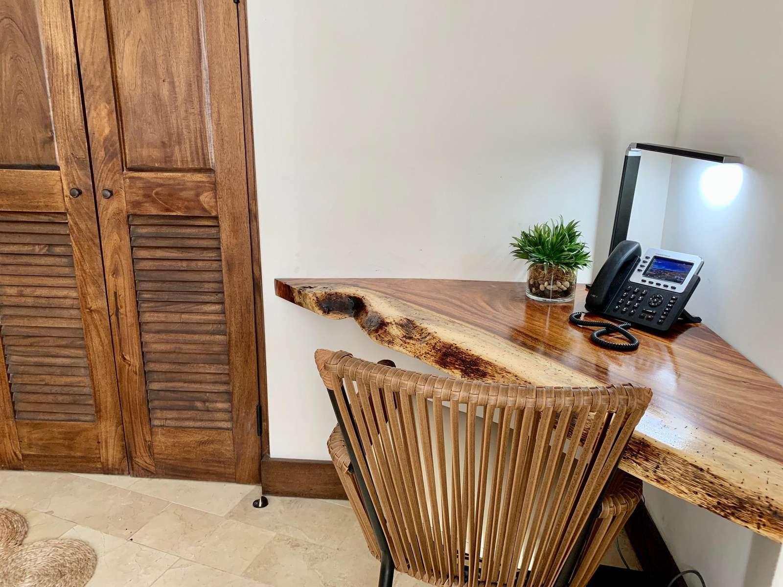 Rustic wood desk in the master bedroom