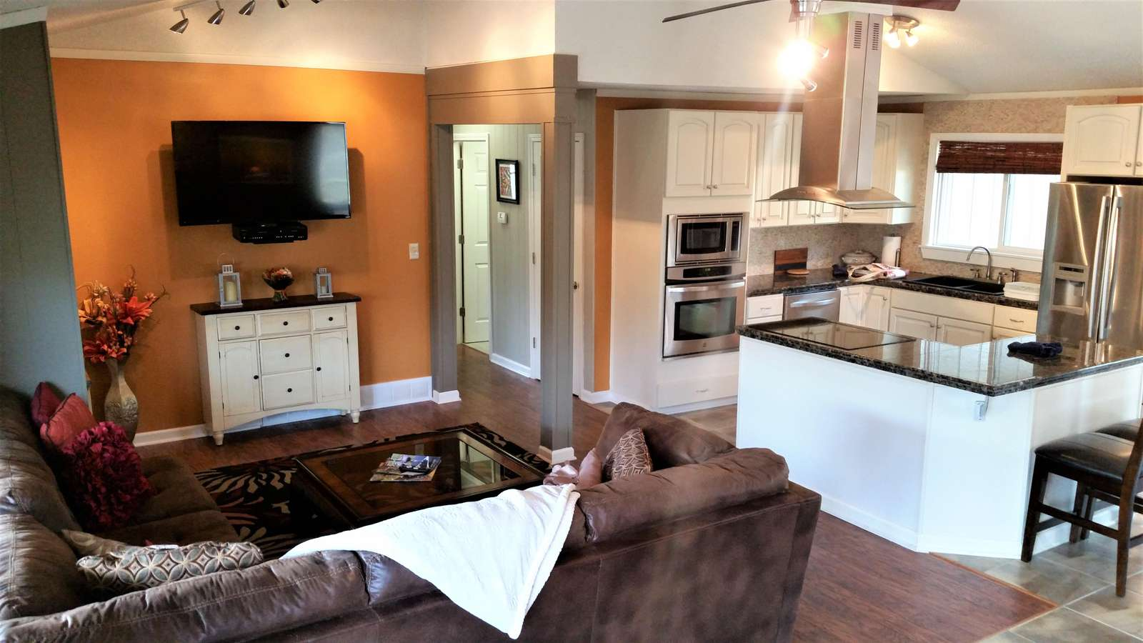 Large open kitchen/living/dining area