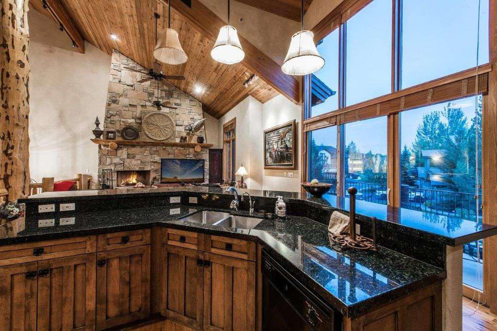 Kitchen with giant view windows