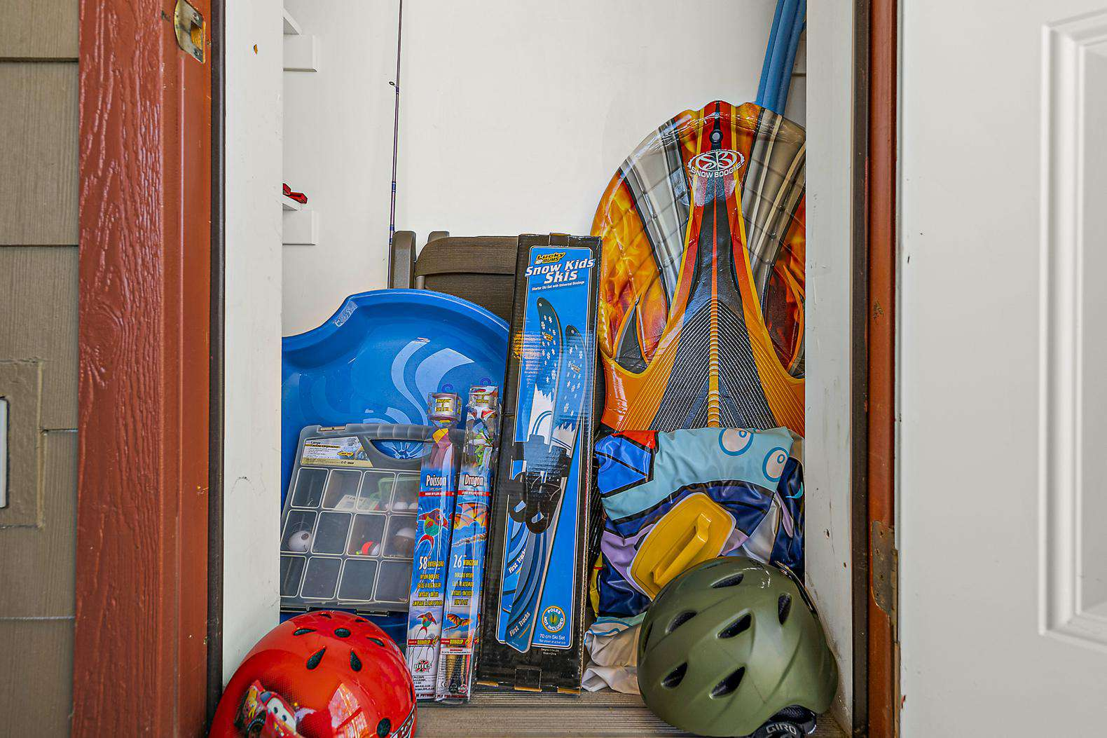 Balcony storage filled with toys