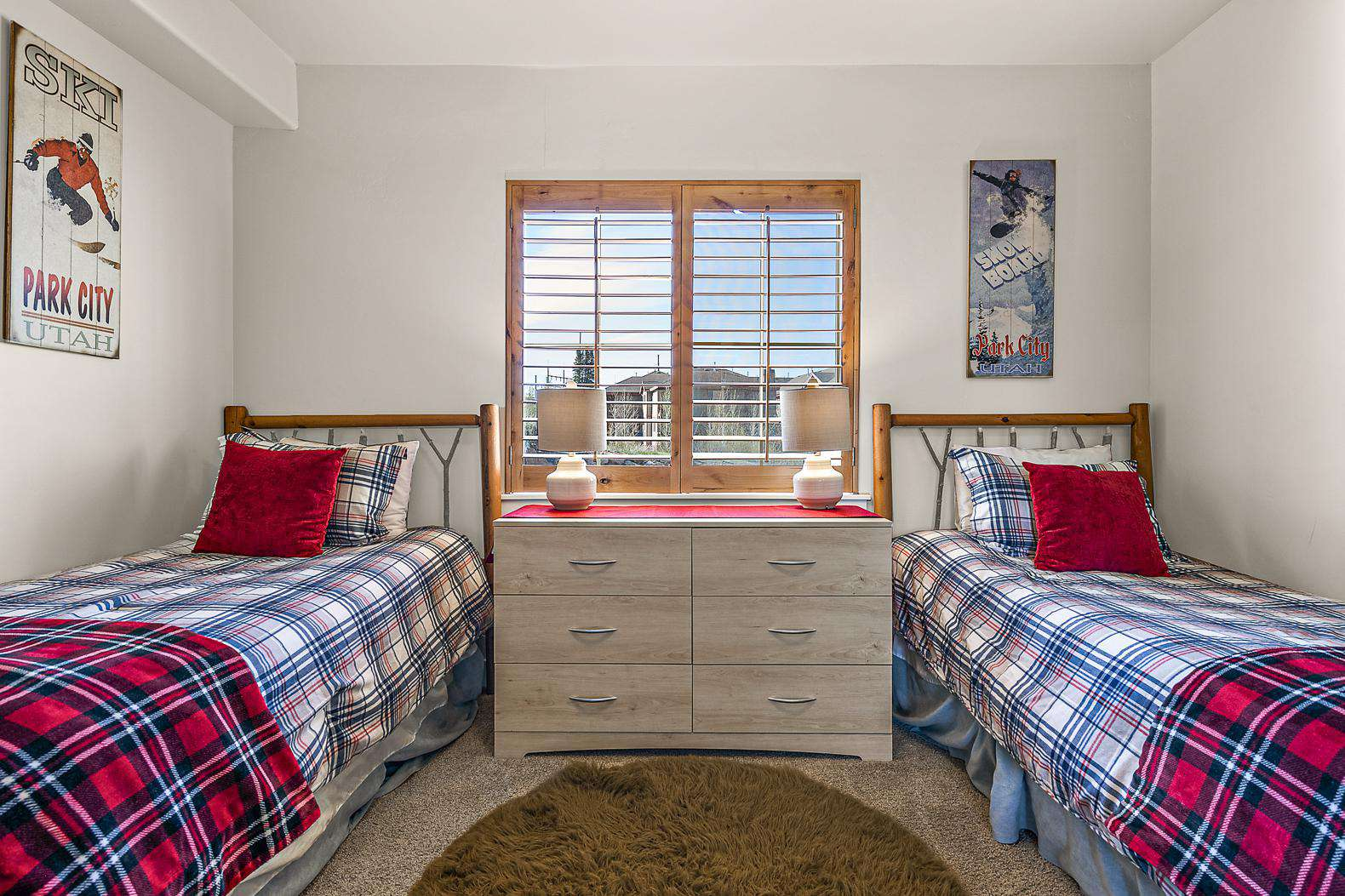Twin bedroom with window view