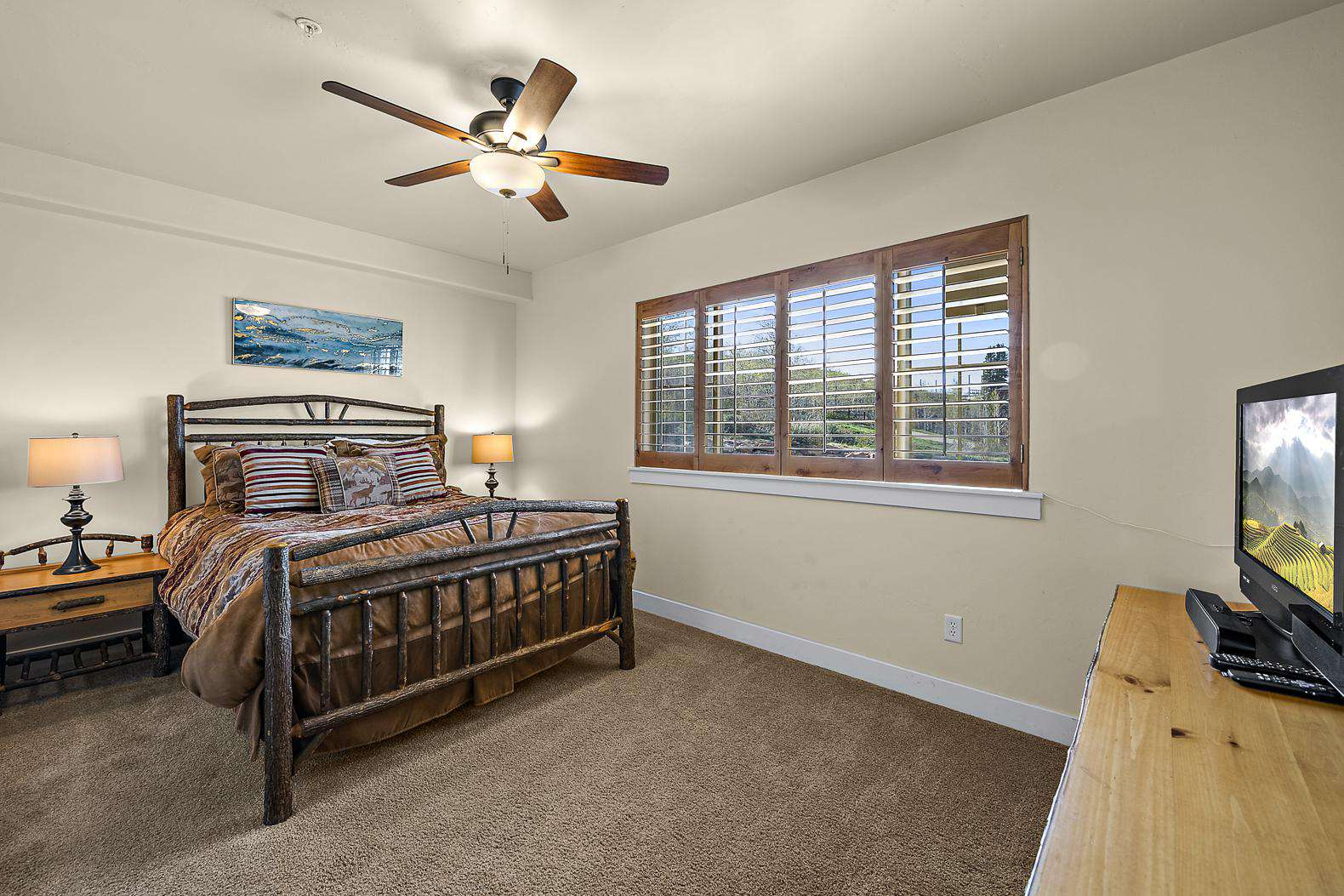 Master bedroom with window views