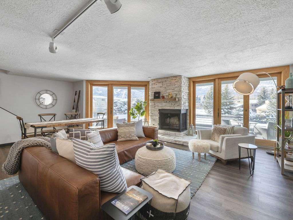 Ski slope mountain views out giant windows