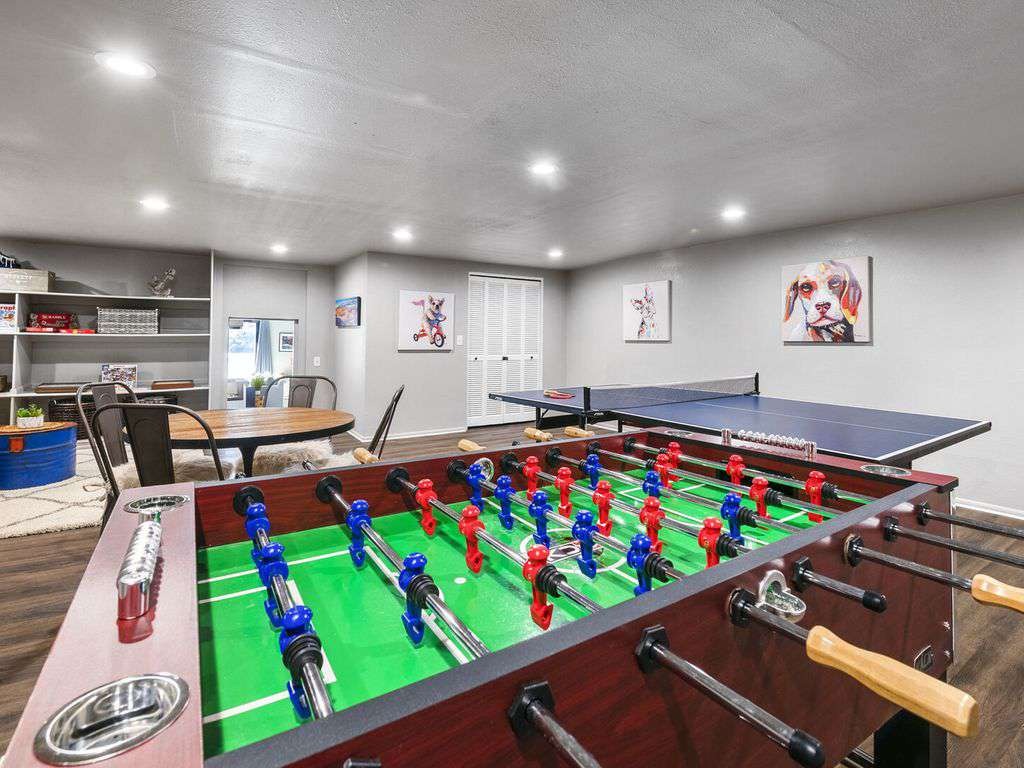 Foosball and game table. Board games provided