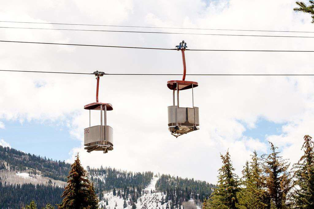 View of ski gondola from condo's parking lot