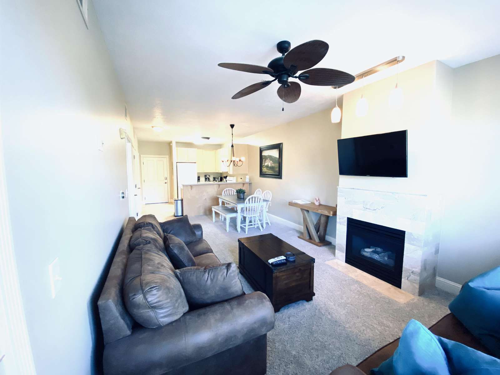 Gas fireplace and flat screen TV