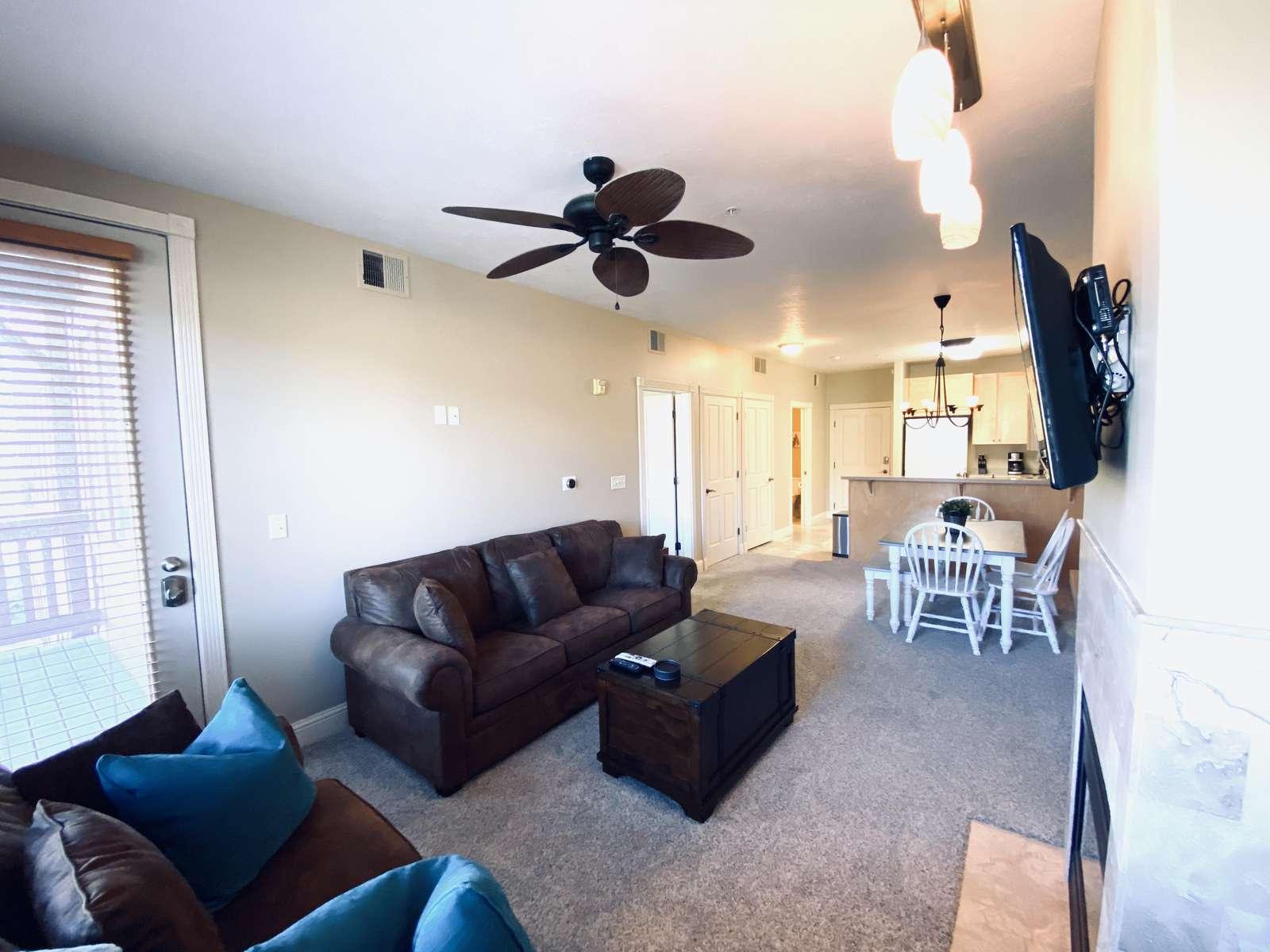 Living area with door to deck