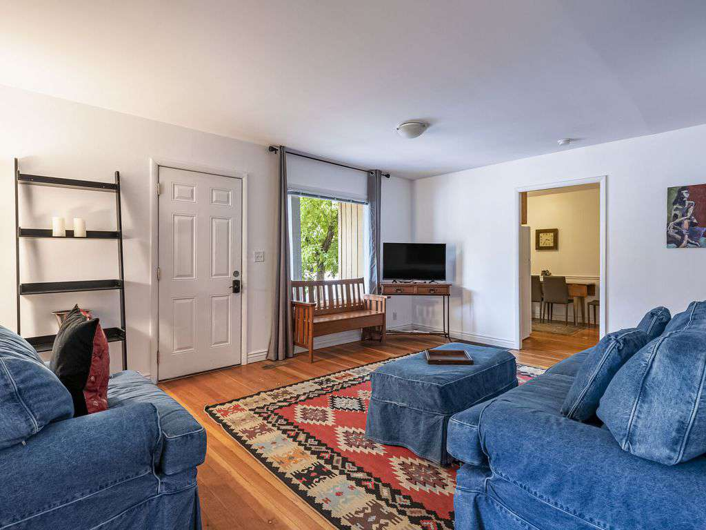 Living room has large view window