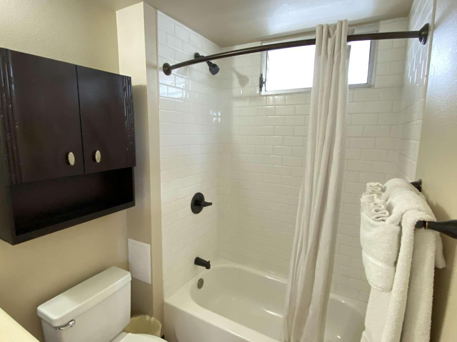 Shower tub combo - Great for family living.