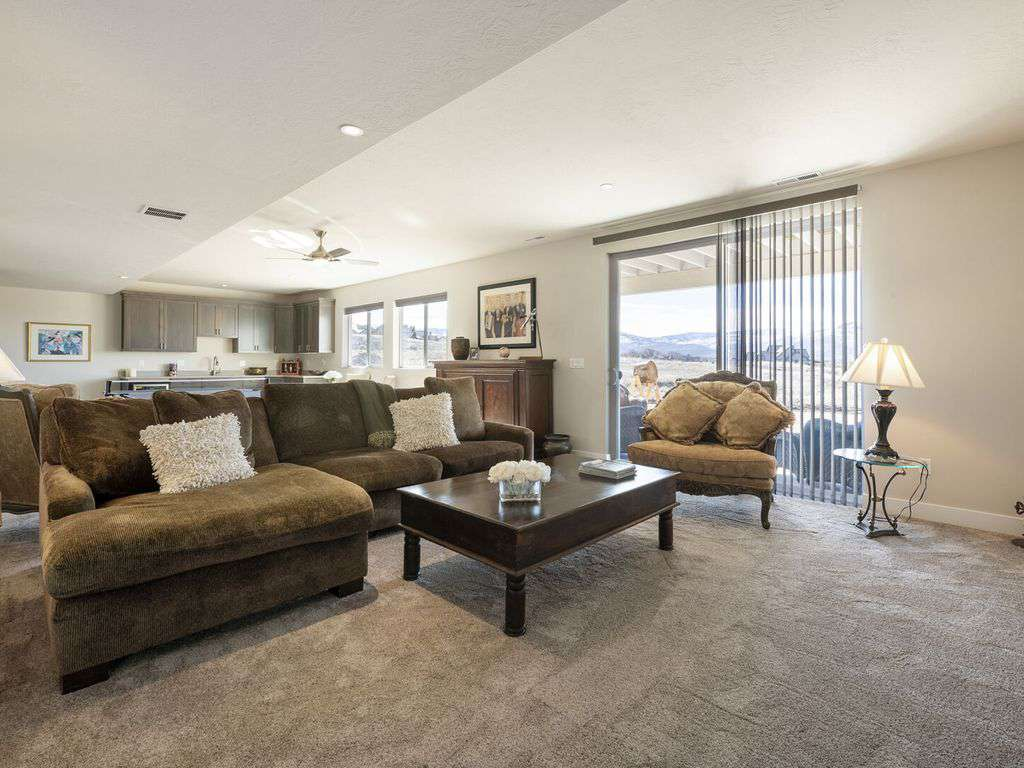 Huge basement gathering room with walk out patio