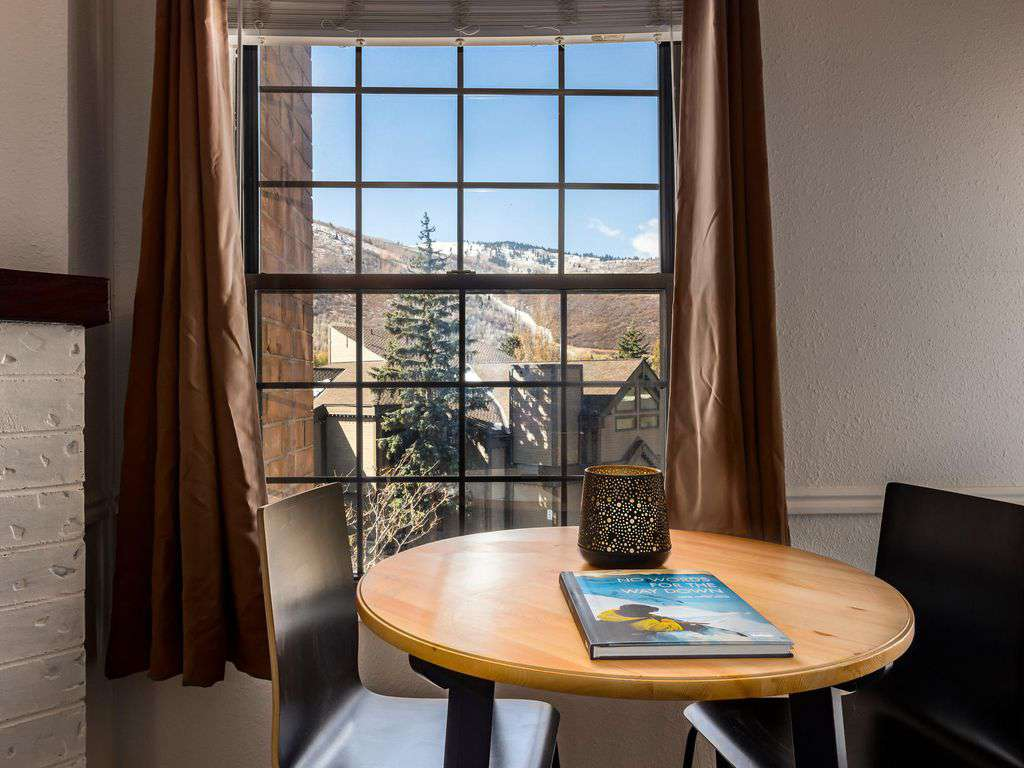 Enjoy a warm meal while viewing beautiful Park City mountains and pines