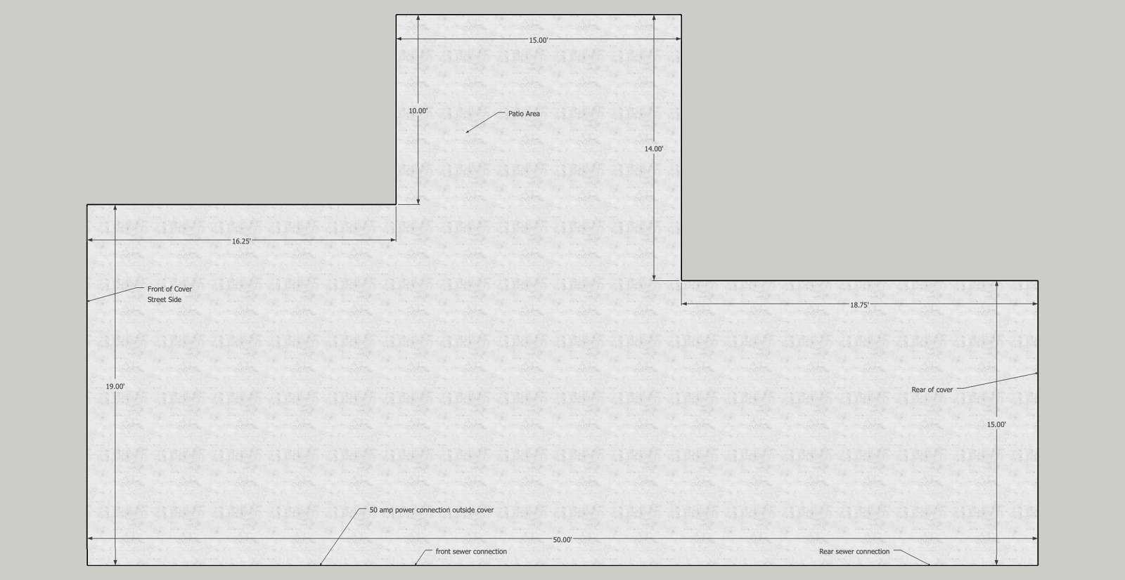 This is the open/usable are diagram for the slab. Within inches.