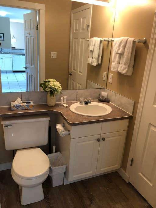 Bathroom attached to single queen bedroom.