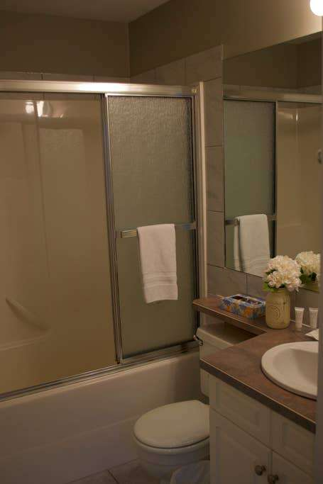 Shower/tub combination attached to the single queen bedroom.