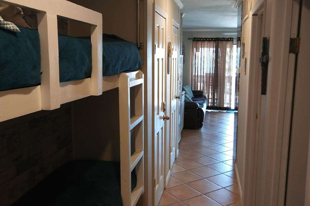 junior bunkbeds built into a custom niche