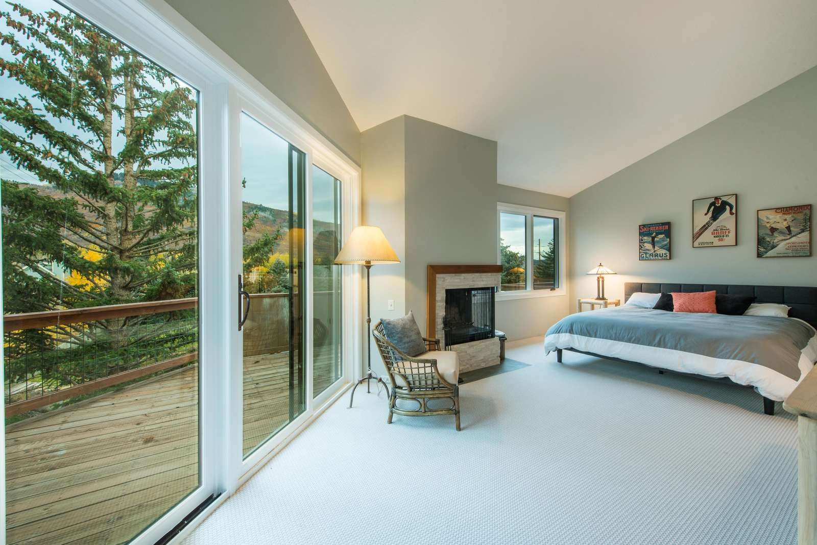 Master bedroom has a deck and stunning mountain views