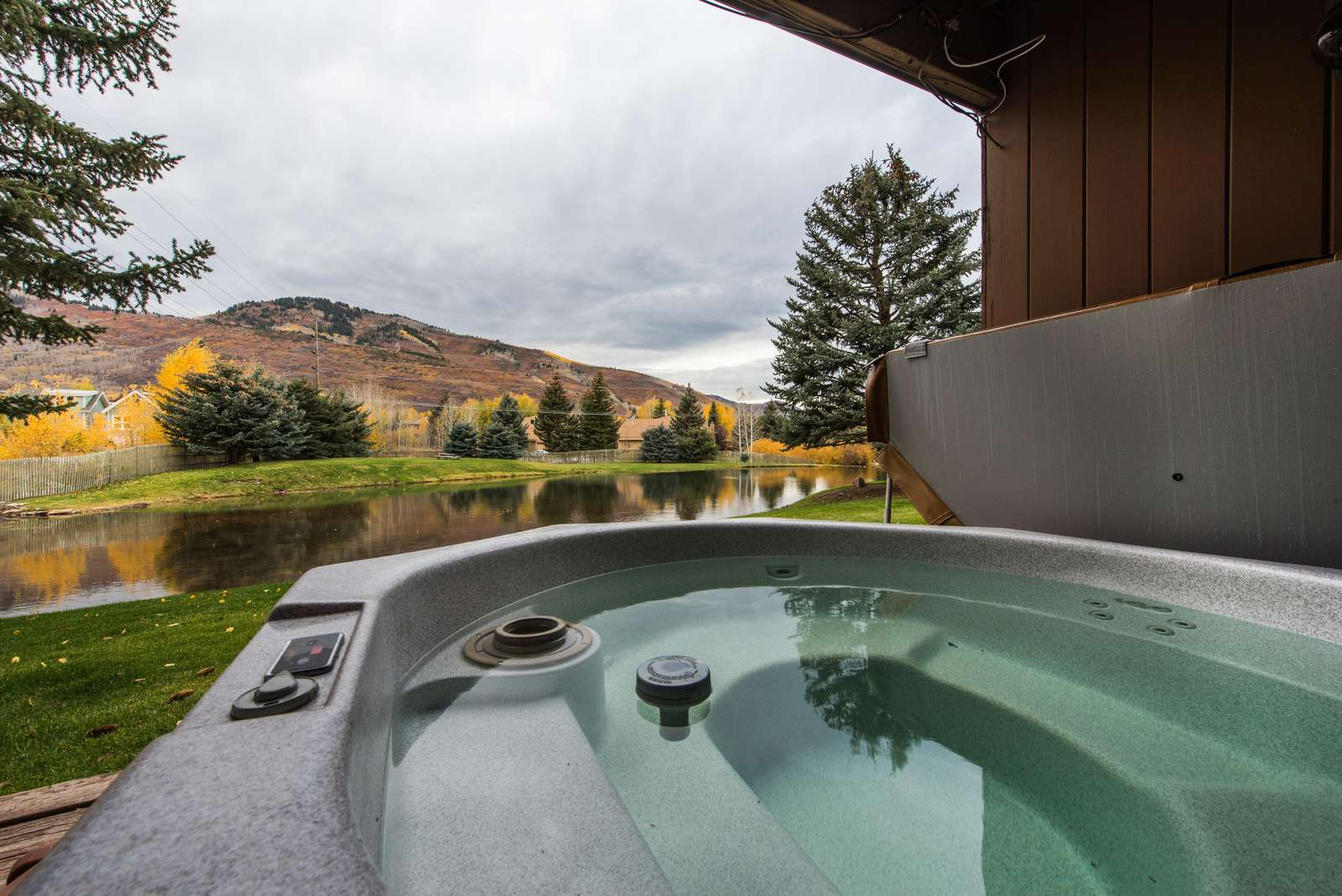6 person hot tub overlooking the pond