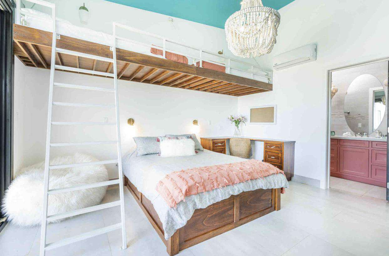 Guest bedroom, Queen bed with twin size bunk bed area