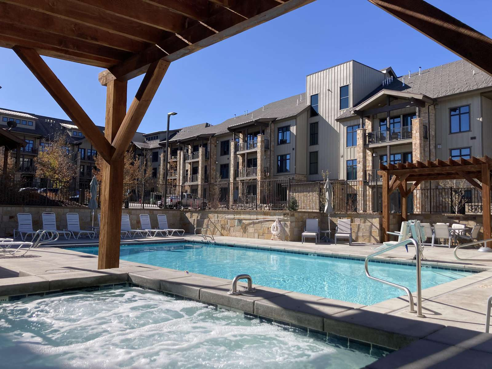 The community spa and pool are heated all year long