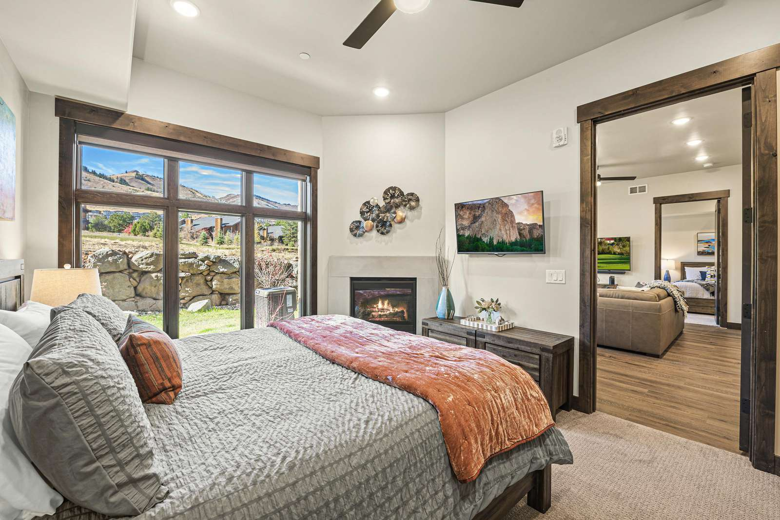 Mountain views from the master bedroom