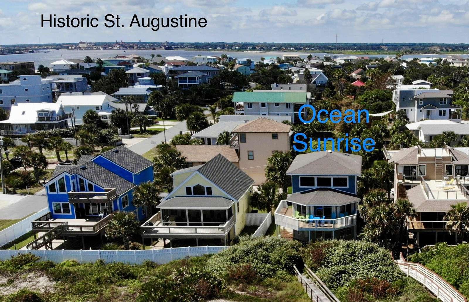 Ocean Sunrise - Aerial Neighborhood