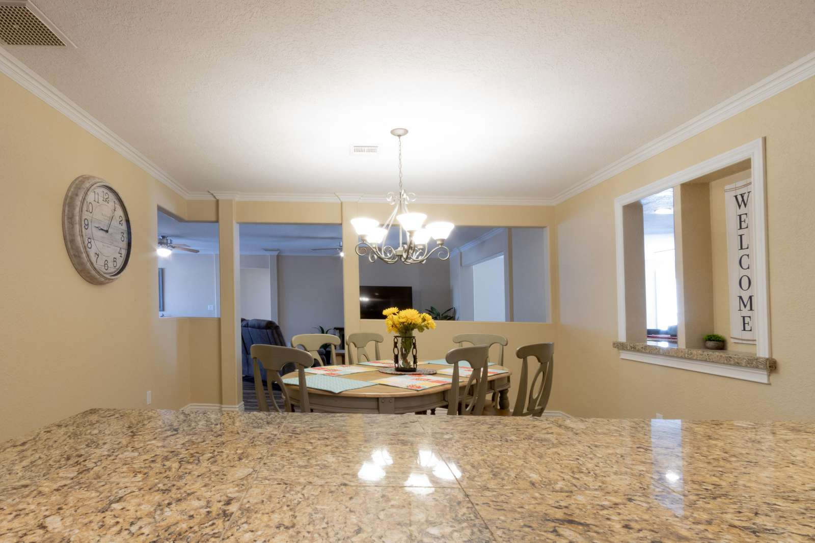 Dining room from kitchen counter top
