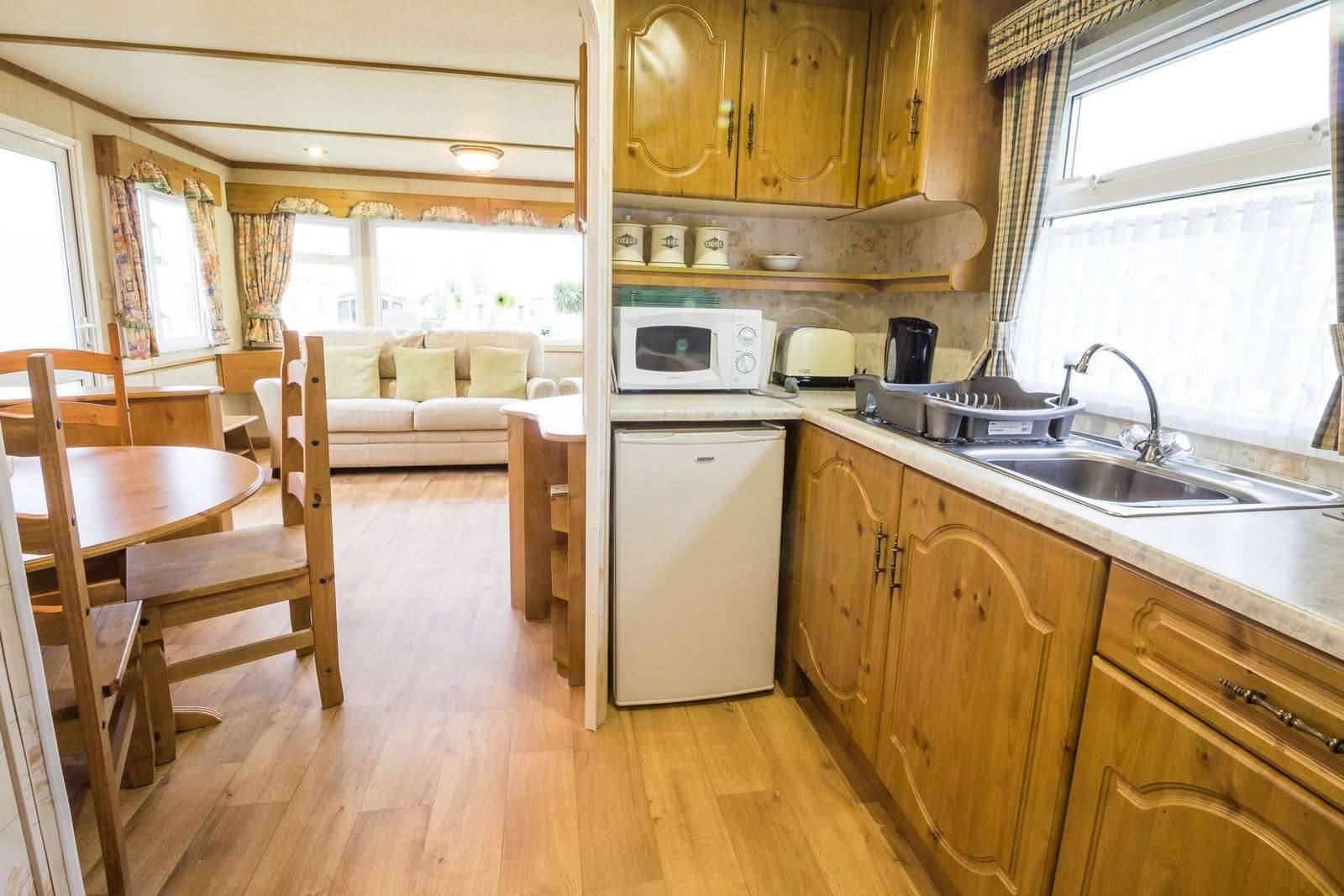 Great kitchen area in this affordable caravan for hire.