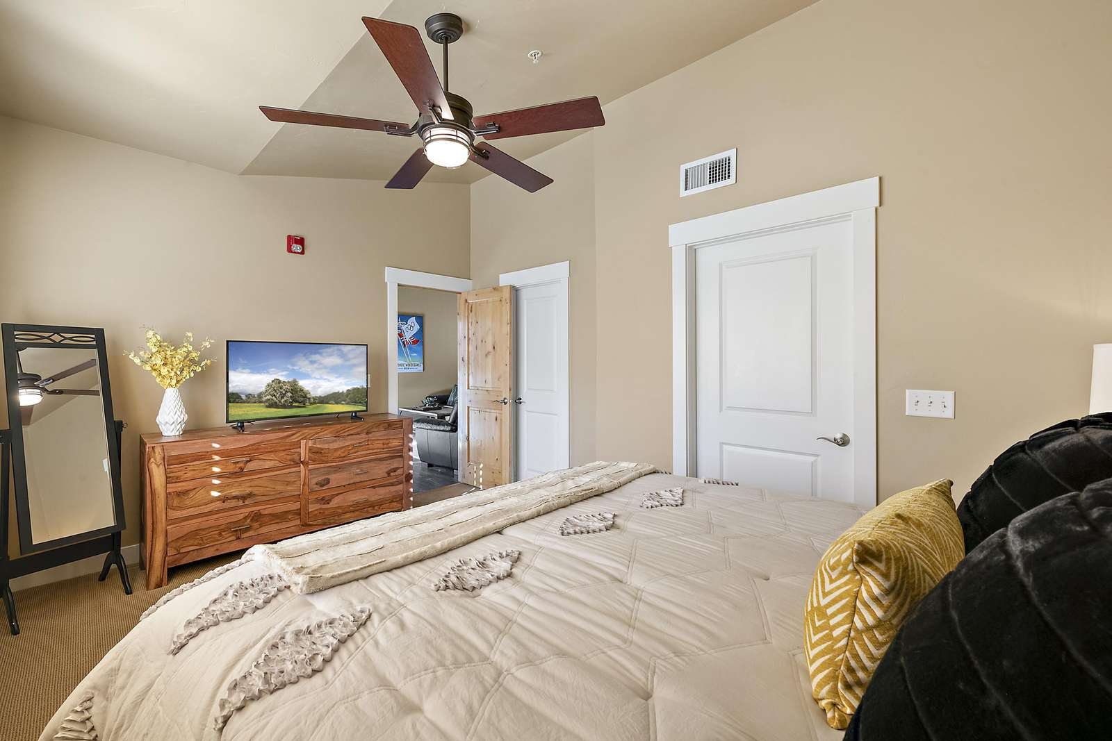 Master bedroom accessed from living room