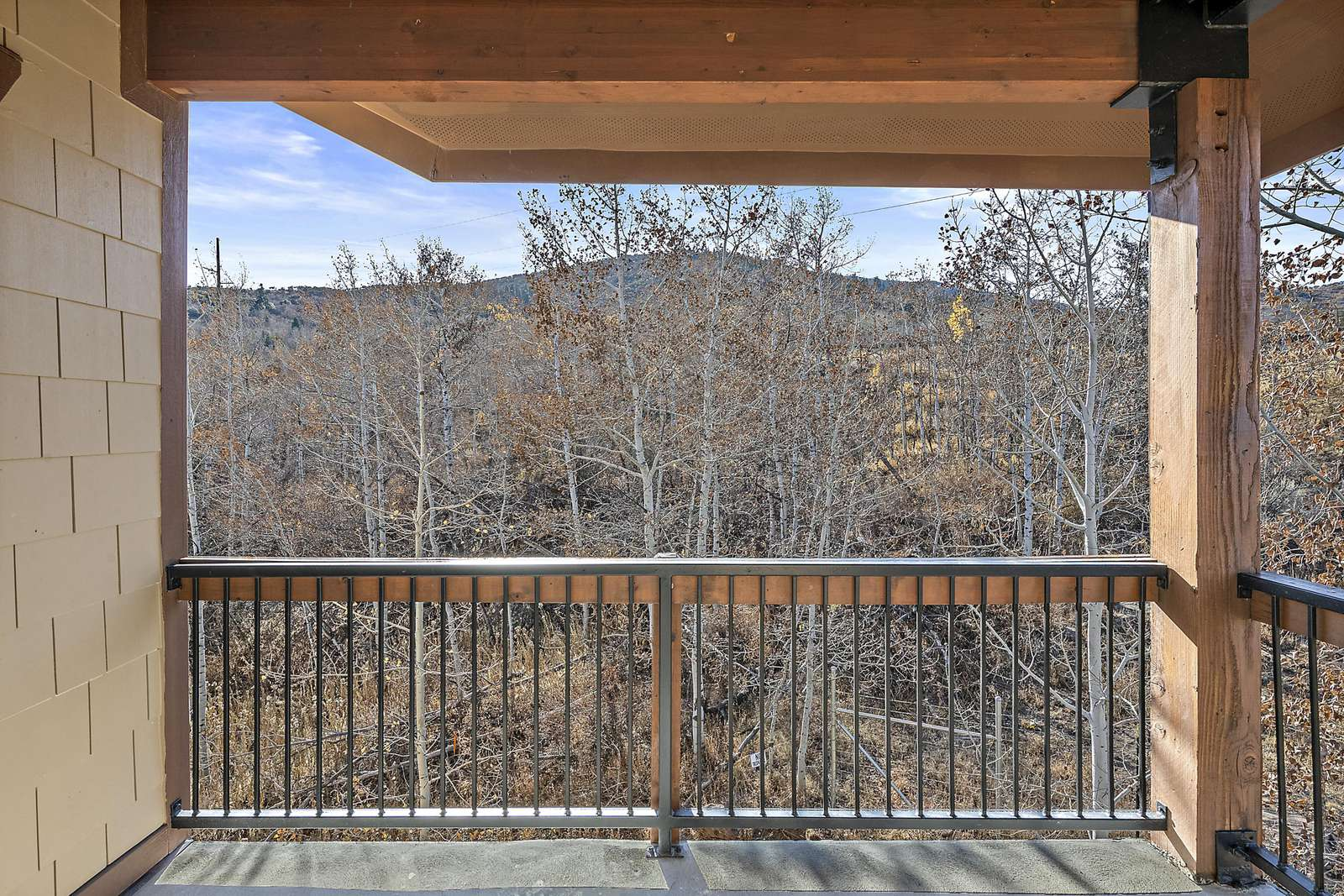 Deck overlooks trees and mountains