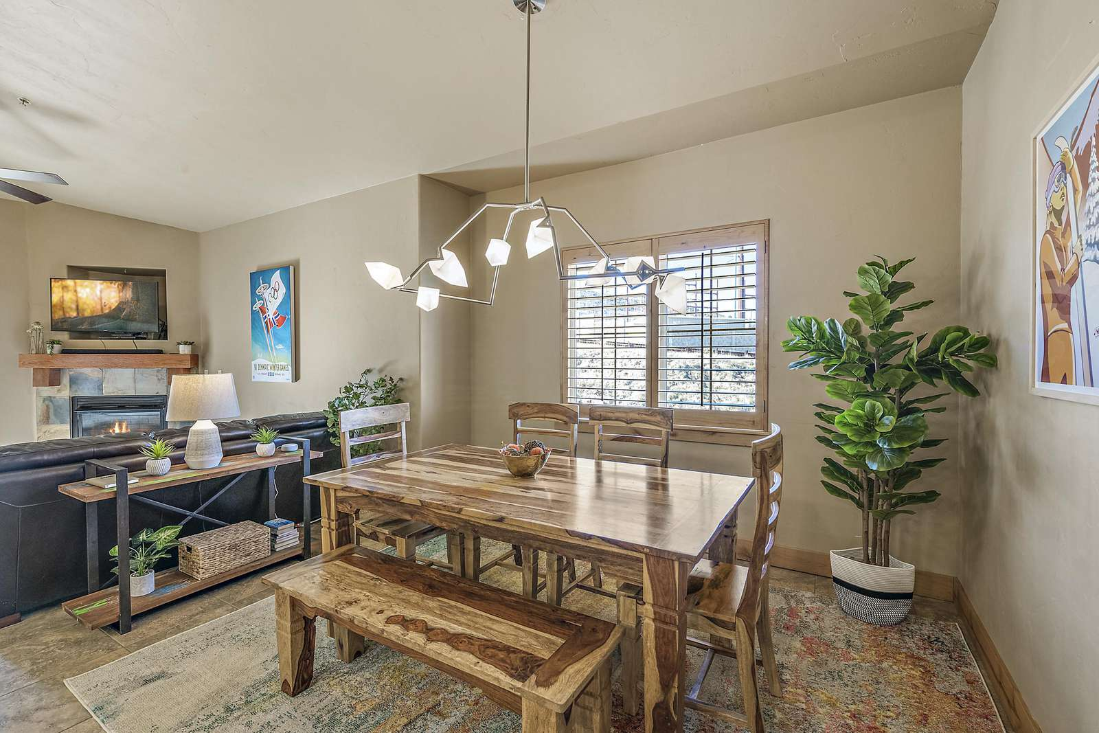 Dining table next to living area