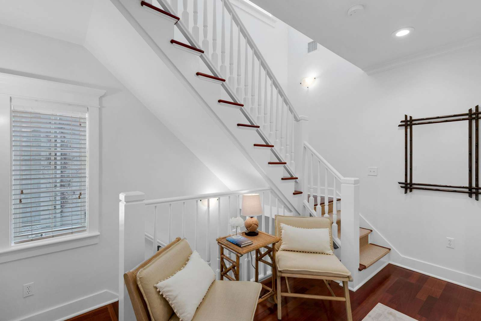 Cozy Seating Area and Stairway to Third Floor