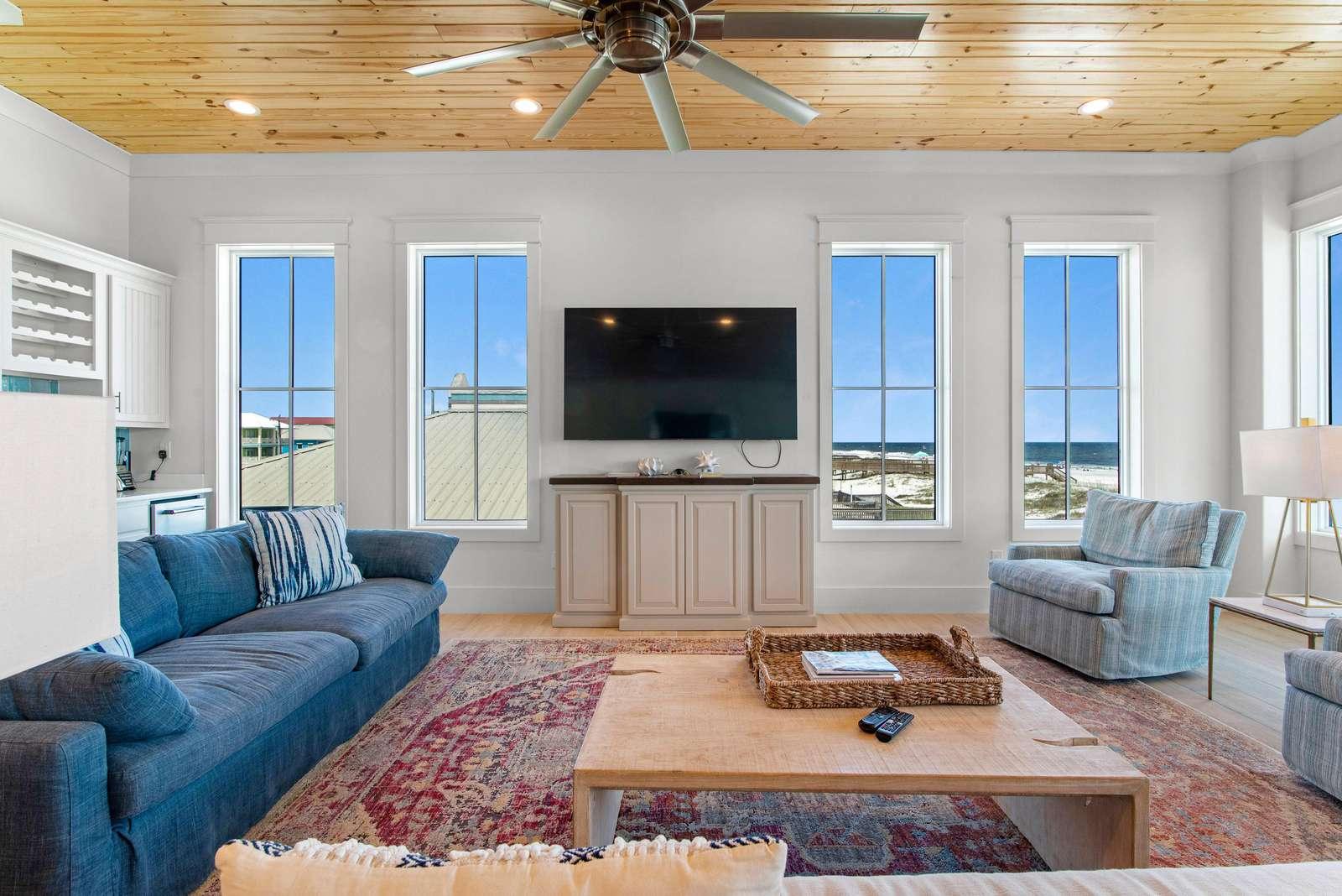 Seaside East Den w/ 75 Inch SMART TV