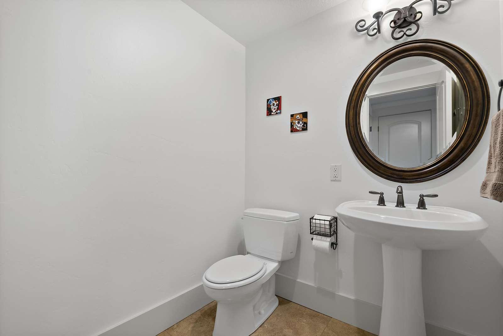 Half bathroom available near living room